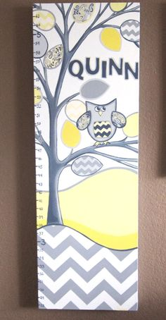 Nursery Wall Decor - Yellow and Grey Chevron Growth Chart, Tree with Owl, 12x36 inches. $115.00, via Etsy.