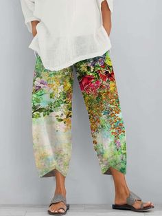 Linen Pants Women, Pants For Women, Cotton Linen, Printed Cotton, Yellow Accessories, Accessories Online, Relaxed Outfit, Yellow Pants, Textiles