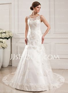 Wedding Dresses - $232.99 - Mermaid Scoop Neck Cathedral Train Satin Tulle Wedding Dress With Lace (002019530) http://jjshouse.com/Mermaid-Scoop-Neck-Cathedral-Train-Satin-Tulle-Wedding-Dress-With-Lace-002019530-g19530