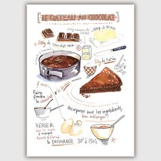 Chocolate cake illustrated recipe watercolor painting kitchen art print, Food art, Large kitchen poster, Kitchen wall art, French home decor Cake Illustration, Food Illustrations, Watercolor Illustration, French Illustration, Watercolor Drawing, Watercolor Paintings, Recipe Drawing, Cake Recipes, Dessert Recipes