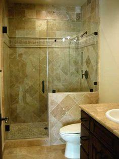 Walk In Shower With Half Wall Shower Door And Half Glass