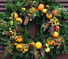 colonial-style winter wreath ~ fruit and pinecones
