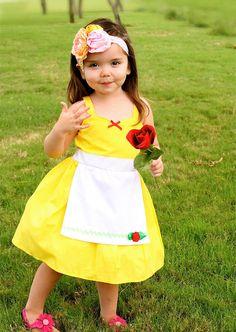 Robe de la BELLE princesse costume robe tablier d'amant Dovers filles la main Belle Halloween costume