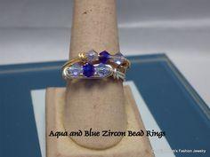 Aqua & Blue Zircon Color Bead Rings by BobsFashionJewelry on Etsy