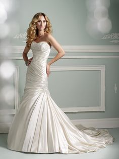 Spring 2013 James Clifford Collection strapless satin modified mermaid #wedding dress with hand-beaded embellished bust line