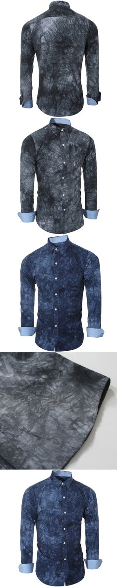 Special Design 2016 explosion models high-quality3D printed blue porcelain dyed shirt. Men's casual long-sleeved shirt