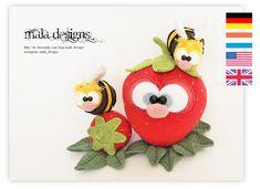 Häkelanleitungen - kleine Bienen mit Erdbeeren, Häkelanleitung - ein Designerstück von Mala-Designs bei DaWanda