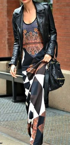 Adorable flowy dress with leather moto and handbag | Fall / spring outfits