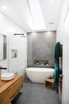 Ensuite bathrooms, grey bathrooms, laundry in bathroom, bathroom renos, the New Bathroom Designs, Bathroom Interior Design, Bathroom Styling, New Bathroom Ideas, Bathtub Ideas, Modern Bathroom Design, Kitchen Ideas, Family Bathroom, Laundry In Bathroom