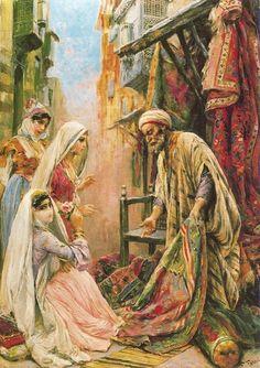 Venditore Ambulante di Tappeti: the Carpet Vendor  Fabio Fabbi (Italian orientalist Painter, 1861-1946) - 19th century