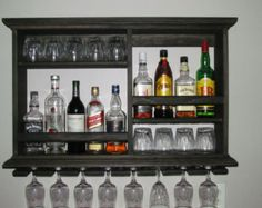 Mini Bar, Black stain, wine rack, liquor cabinet, minimalist style, 3 x 2 wall mounted bar