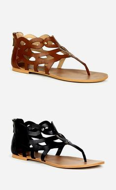 Laser cut gladiator sandals with a thong silhouette and an easy back zipper