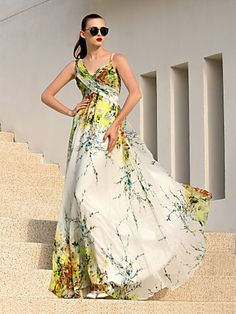 A-line Straps Floor-length Chiffon Evening Dress (927290) | LightInTheBox