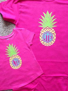 ef835185381 Items similar to Pineapple Monogram T shirt on Etsy