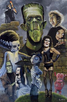 Pop surrealism, surrealism, lowbrow art, new contemporary art: Interview with pop surreal artist Bob Doucette Young Frankenstein, Bride Of Frankenstein, Horror Icons, Horror Art, Beetlejuice, Zombies, Graphisches Design, The Rocky Horror Picture Show, Fanart