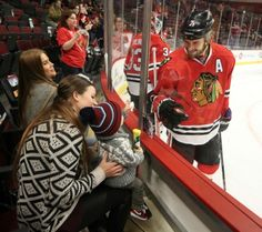 He has gotten so big! @ChiTribNuccio: A smile from dad #Blackhawks Brent Seabrook during warmup before the game against the #StLouisBlues [x]