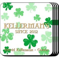 WeddingDepot.com ~ Personalized Coaster Set - Raining Clover ~ Our Raining Clover personalized coasters are a perfect accessory to any bar or family room.