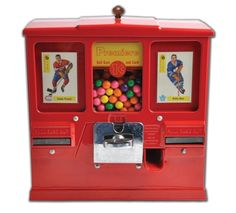 Vintage Oak Premiere Hockey Card And Gumball One Cent Vending Machine Penny Arcade, Gumball Machine, Hockey Cards, Vending Machine, Arcade Games, Auction, Fan, Deco, Classic