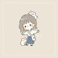 Twitter Chibi Girl Drawings, Cute Cartoon Drawings, Cute Kawaii Drawings, Cartoon Art Styles, Cartoon Sketches, Stickers Kawaii, Cute Little Drawings, Cute Girl Drawing, Dibujos Cute