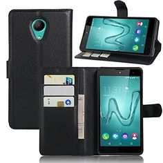 awesome Wiko Robby Funda para Wiko Robby Cover, Vikoo Flip Cover Tapa de Cuero de La PU Case de la Cartera con Ranuras para Tarjetas Incorporadas para Wiko Robby Smartphone Case - Negro