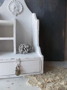 Vintage White Shabby French Country Cottage. Wood Cubby Shelf. Pigeon Hole Mail Organizer.  Desk top Organizer. Farmhouse Rustic Decor