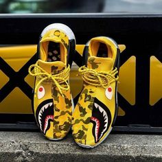 """adidas NMD Human Race x Pharrell Williams x BAPE """"Yellow Shark Camo"""" -Chubster favourite ! - shoes for men - chaussures pour homme - Sneakers Mode, Custom Sneakers, Running Sneakers, Custom Shoes, Running Shoes For Men, Sneakers Fashion, High Top Sneakers, Mens Running, Fashion Shoes"""
