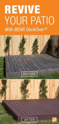 Revive your deck with a thorough cleaning and a new finish. We can show you how to accomplish that in just a weekend (with no sanding!) using BEHR All-in-One Wood Cleaners and DeckOver®. Click through for the how-to to see just how easy it is. Backyard Projects, Outdoor Projects, Backyard Ideas, Patio Ideas, Pergola Ideas, Porch Ideas, Garden Ideas, Backyard Decorations, Weekend Projects