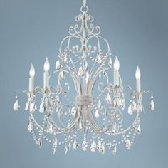 Light the room or light the way this chandelier makes a statement.  Chateau Vieux Collection Antique White Five Light Chandelier