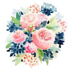 Navy and Pink Garden Roses - – Watercolor Print   April Preston Design