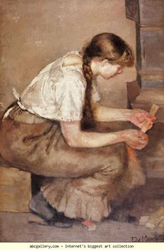 Edvard Munch. Girl Kindling a Stove. Olgas Gallery.