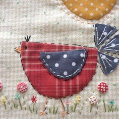 Finished my little folk art birdie! So much fun to work on! And I loved learning a new stitch #sharonblackman