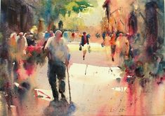 "Contemporary Painting - ""Afternoon Walk"" (Original Art from Fealing Lin Watercolors)"