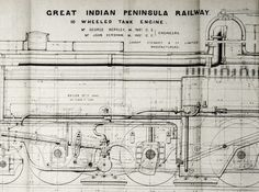 1869 Very Rare Poster-sized Technical Drawing. 10-wheeled Tank Engine, Great…
