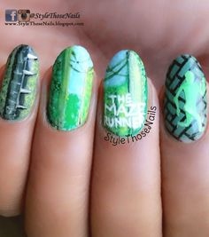 The Maze Runner- Book Inspired Nails for The Polished Bookworm http://stylethosenails.blogspot.com/2015/03/the-maze-runner-book-inspired-nails-for.html