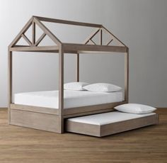 RH baby&child's Cole Framed House Bed With Trundle Base:The simple, A-shaped frame of an iconic American barn inspired our bed, which features stout beams on the long sides and triangular roof trusses at either end. Built to stand alone, it can also be combined with a matching trundle or a storage base for space-saving efficiency.