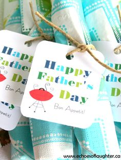Father's Day Printable Straw Flags, Tags & Bag Toppers - Echoes of Laughter