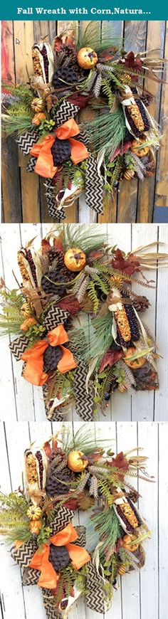 """Fall Wreath with Corn,Natural Pumpkin Wreath, Fall Wreath, Thanksgiving Wreath. Wonderful classic fall wreath that will welcome in the fall season. The fun corn and pumpkins are surrounded by fall berries and evergreen pines. Just right to take you from Halloween to Thanksgiving. Dimensions 24""""x21"""" and 8 """" Deep Created on a18 inch grapevine base Paper Wrapped Metal Hanger attached This wreath will work inside or out with protective covering. This wreath with have limited lifespan if…"""