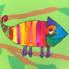 Color Chameleon Art Lesson for kids- Leah Newton Art