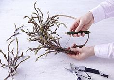 gingersoda diy spring wreath with magnolia twigs 2 Twig Crafts, Wreath Crafts, Twig Art, Purple Wreath, Diy Spring Wreath, Hanging Vases, Twig Wreath, Diy Chandelier, Arte Floral