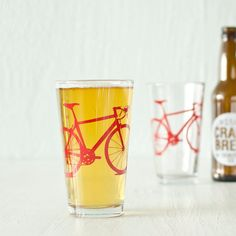 For Fat Tire beers:2 bicycle pint glasses red bike by vital on Etsy, $24.00