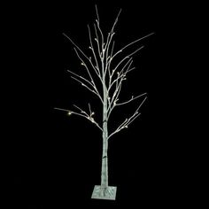 4' White Twig Christmas Tree with 48 LED Warm White Lights with Stand
