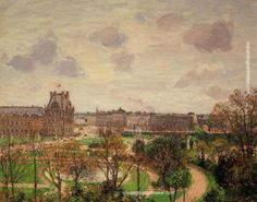 Camille Pissarro Garden of the Louvre Morning, Grey Weather, 1899 painting art sale, painting Authorized official website