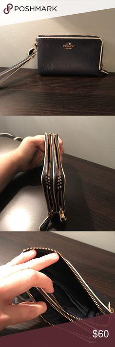Navy blue Coach wristlet Dark navy Coach wristlet. Double zipper/ 2 sections. Gold hardware. Coach Bags Clutches & Wristlets