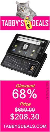 Motorola Milestone Droid Unlocked Touch Screen Phone with 5 MP Camera, Wi-Fi, GPS and QWERTY Keyboard - Unlocked Phone - No Warranty (Black) $208.30