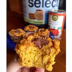 Pumpkin Protein Muffins INGREDIENTS: 1/2 can of pumpkin purée , 30 grams PEScience Snickerdoodle Select Protein, 2 egg whites, 18 grams coconut flour, 10 grams PB2, 1/2 tsp vanilla extract, 1/2 tsp vanilla stevia, 1 tsp stevia, 1/2 tsp baking powder DIRECTIONS: Mix ingredients and divide into lined muffin tins. Bake at 350 for 15-20 mins, or until a toothpick comes out clean.  Macros per muffin (1/5): 1f/6c/6p