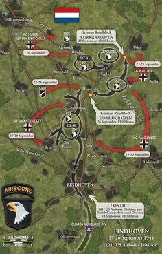 The US 'Screaming Eagles' Airborne Division jumped into Holland in a daylight aerial assault on 17 September north of Eindhoven. The bridges assigned to the Airborne at Best and Son were a full 8 miles north of Eindhoven. World History, World War Ii, Operation Market Garden, Military Tactics, 101st Airborne Division, Band Of Brothers, Paratrooper, Eindhoven, D Day