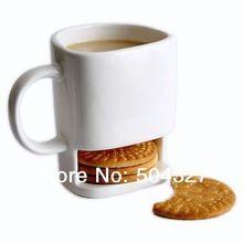 Free shipping 1Piece 250ml Dunk Mug - Ceramic Cookies Mug with Biscuit holder(China (Mainland))