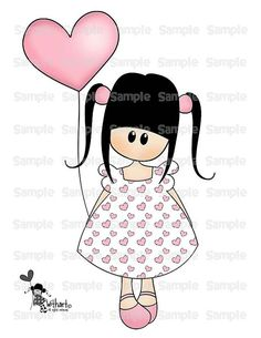 Valentines balloon Nina dolls 0405 clip art set images for Valentines Balloons, Valentines Diy, Drawing For Kids, Art For Kids, Welcome Home Cards, Painted Rocks Craft, Cute Cartoon Girl, Happy Paintings, Baby Art