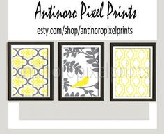 Damask Bird Wall Art Prints Yellow Grey Wall Art Set of 3 - 5x7 Prints - (UNFRAMED) Custom Colors Sizes Available on Etsy, $20.00