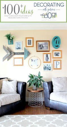 Gallery Wall with Arrow Art plus 100 other ideas for decorating with pictures! Great ideas for gallery walls. Home Wall Decor, Diy Home Decor, Room Decor, Pinterest Home, Decorating With Pictures, Inspiration Wall, Living Spaces, Living Room, Photo Wall